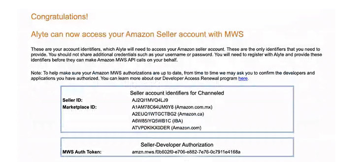Amazon MWS Connection